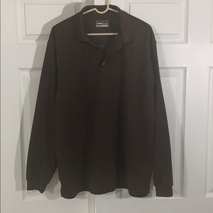 Grand Slam Golf Long Sleeve Polo Brown XL